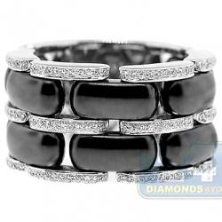 14K White Gold Black Ceramic 0.48 ct Diamond Womens Ring