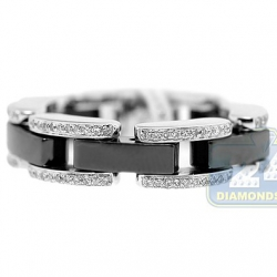 14K White Gold Black Ceramic 0.31 ct Diamond Womens Ring