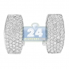 Womens Diamond Pave Huggie Earrings 14K White Gold 0.66 ct 1""