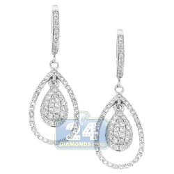 14K White Gold 1.10 ct Diamond Womens Drop Earrings