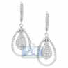 Womens Diamond Pave Drop Earrings 14K White Gold 1.10 ct 1.25""