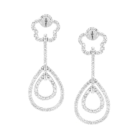 Womens Diamond Layered Drop Earrings 14K White Gold 0.92 Carat