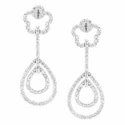 14K White Gold 0.92 ct Diamond Womens Layered Drop Earrings