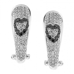 14K White Gold 1.15 ct Black Diamond Heart Womens Earrings