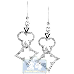 14K White Gold 0.96 ct Diamond Poker Womens Dangle Earrings