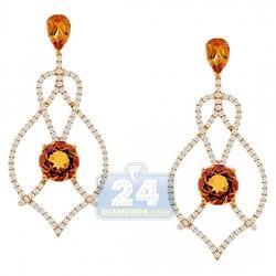 14K Yellow Gold 3.03 ct Citrine Diamond Womens Dangle Earrings