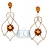 Womens Citrine Diamond Dangle Earrings 14K Yellow Gold 3.03 ct