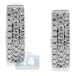 Womens 3 Row Diamond Round Hoop Earrings 14K White Gold 0.71 ct