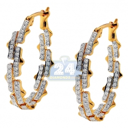 14K Yellow Gold 0.74 ct Diamond Womens Oval Hoop Earrings