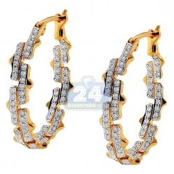 14K Yellow Gold 0.74 ct Diamond Womens Oval Hoop Earrings