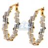 Womens Diamond Fancy Oval Hoop Earrings 14K Yellow Gold 0.74 ct