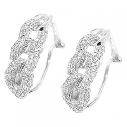 14K White Gold 0.70 ct Diamond Cuban Link Huggie Earrings
