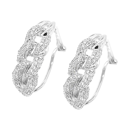 Womens Diamond Cuban Link Huggie Earrings 14K White Gold 0.70 ct