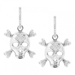 14K White Gold 0.47 ct Diamond Skull Womens Drop Earrings
