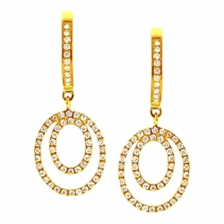 14K Yellow Gold 0.35 ct Diamond Womens Layered Drop Earrings