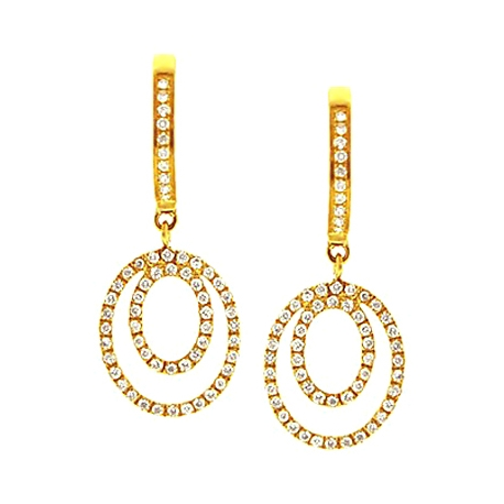 Womens Diamond Layered Drop Earrings 14K Yellow Gold 0.35 ct