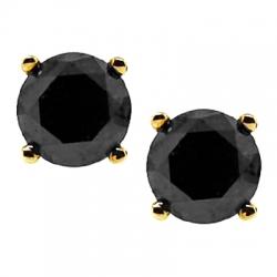 10k Yellow Gold 4 48 Ct Black Diamond Mens Stud Earrings