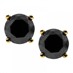 10K Yellow Gold 4.48 ct Black Diamond Mens Stud Earrings