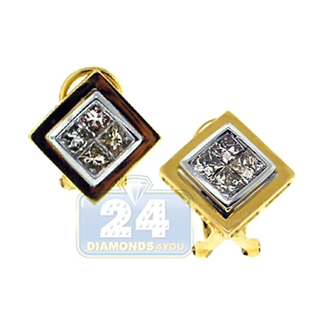 Womens Diamond Square Huggie Earrings 14K Yellow Gold 1.20 ct