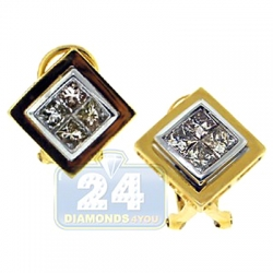 14K Yellow Gold 1.20 ct Diamond Womens Square Huggie Earrings
