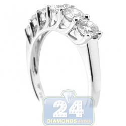 14K White Gold 1.20 ct 6 Stone Diamond Womens Anniversary Ring