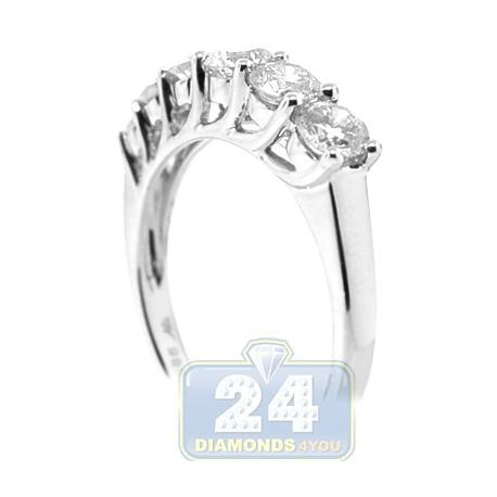 14K White Gold 1.20 ct 6 Stone Diamond Womens Anniversary Ring