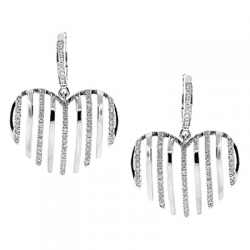 14K White Gold 0.68 ct Diamond Striped Heart Womens Earrings