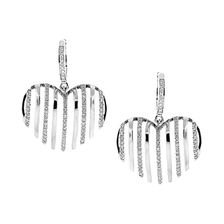 Womens Diamond Striped Drop Heart Earrings 14K White Gold 0.68 ct