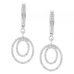14K White Gold 0.40 ct Diamond Womens Layered Drop Earrings