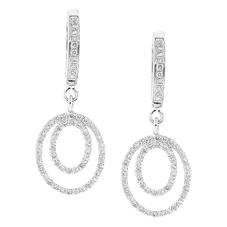 Womens Diamond Layered Drop Earrings 14K White Gold 0.40 ct