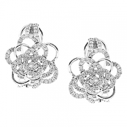 14K White Gold 0.77 ct Diamond Flower Womens Huggie Earrings