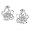 Womens Diamond Flower Huggie Earrings 14K White Gold 0.77 carat