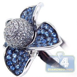 14K White Gold 1.34 ct Diamond Blue Sapphire Flower Ring