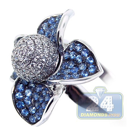 14K White Gold 1.34 ct Diamond Blue Sapphire Flower Cocktail Ring