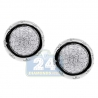 Womens Diamond Pave Round Stud Earrings 14K White Gold 1.00 ct