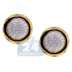 14K Yellow Gold 1.00 ct Diamond Womens Round Stud Earrings