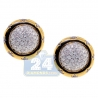 Womens Diamond Pave Round Stud Earrings 14K Yellow Gold 1.00 ct