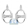 Womens Diamond Open Oval Drop Earrings 14K White Gold 0.88 ct
