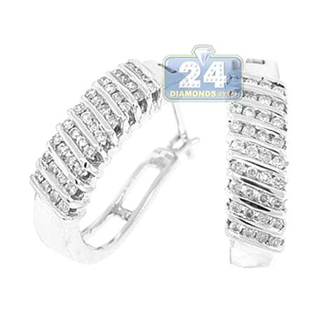 Womens Channel Diamond Oval Hoop Earrings 14K White Gold 0.60 ct