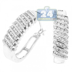 14K White Gold 0.60 ct Channel Set Diamond Oval Hoop Earrings