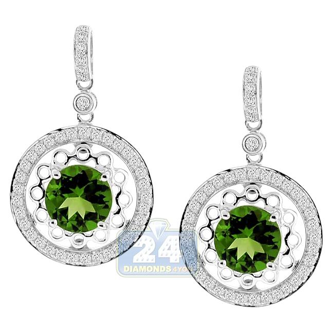 14k White Gold 2 51 Ct Peridot Diamond Womens Drop Earrings
