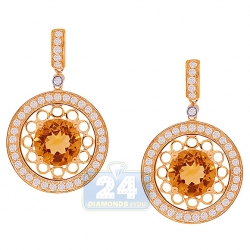 14K Yellow Gold 2.45 ct Citrine Diamond Womens Drop Earrings