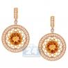 Womens Citrine Diamond Drop Earrings 14K Yellow Gold 2.45 Carat