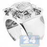 14K White Gold 1.06 ct Mixed Diamond Mens Square Ring