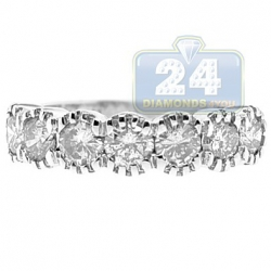 14K White Gold 1.37 ct 7 Stone Diamond Womens Anniversary Ring