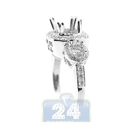 18K White Gold 0.46 ct 3 Stone Diamond Engagement Ring Setting