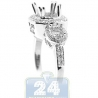 18K White Gold 0.46 ct 3 Stone Diamond Engagement Ring Setting