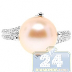 14K White Gold 0.60 ct Diamond Womens Pink Pearl Ring