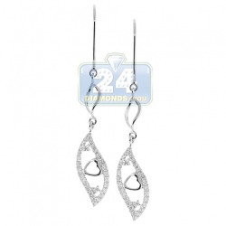 14K White Gold 0.55 ct Diamond Leaf Womens Dangle Earrings