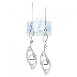 14K White Gold 0.55 ct Diamond Leaf Womens Dangle Earrings